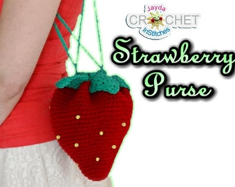 Strawberry Purse Crochet Pattern - Dessert Accesories, Sweet Lolita, Fairy Kei - Jayda InStitches