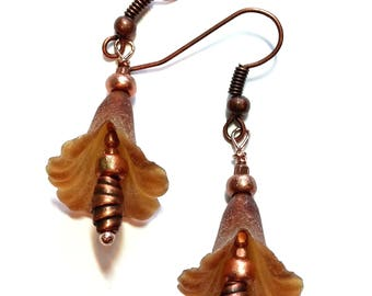 Amber Lucite Bell Flower Earrings