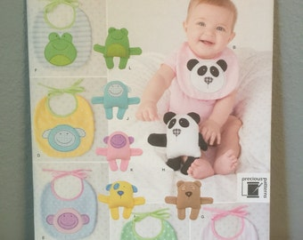 Simplicity Pattern 1904 OS Craft Pattern for various baby bibs with animals and stuffies monkey bear panda frog dog