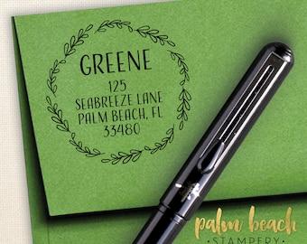 "Greene Pre-Inked Round Return Address Stamp - Self Inking Address Stamper - Personalized Stamp w/ Leaf Border - New Home Gift - 1.5"" Circle"