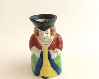Victorian Lady Figurine. Toby Jug.  Hand Painted Statue. Figure Made in Occupied Japan.