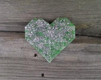 Glittered Heart Pin // Green Heart Pin