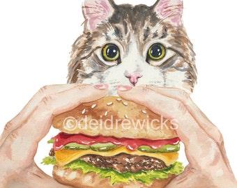 Cat Watercolour Painting - Hamburger Art, Grey Tabby PRINT, Food Illustration, Nursery Decor