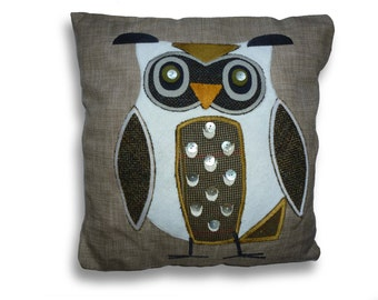 Hand made, uniquely designed, appliqued green owl cushion