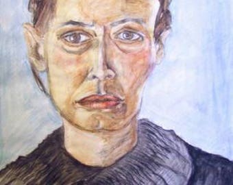 Watercolour portrait, anonymous woman, East Berlin, watercolour, graphite pencil, ball point pen, 250 gram paper.