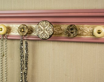 Jewelry organizer CHOOSE 5, 7 or 9 KNOBS  this necklace holder functions as wall jewelry storage & decor in Vintage blush w/ campagne area