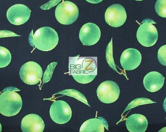 """Fresh Picked Limes Black By V.I.P. Premium 100% Cotton Fabric - 45"""" Width Sold By The Yard (FH-1855)"""