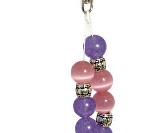 Keychain Charm, Bag Charm, Purse Charm, Planner Charm, Boho Bag Charm, Beaded Bag Charm, Bag Clip, Pink Bag Clip, Pink Bag Charm, Bag Dangle