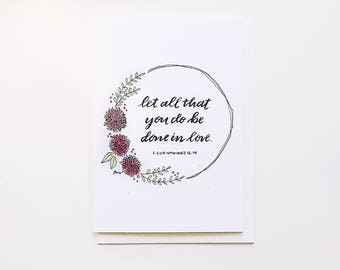 Be Done in Love Greeting Card - Birthday, Thank You, Baptism, Confirmation, First Communion, Congrats, Friendship, Thinking of You