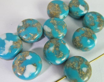 40 Vintage 10mm Turquoise and Gold Lucite Round Tablet Beads Bd1819