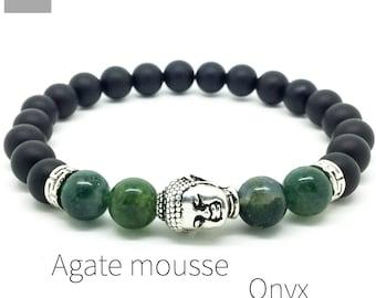 Men's onyx moss agate Buddha bracelet, Yoga mala bracelet, Gemstone bracelet, Gift for men, Jewelry for men, WildCoastJewels