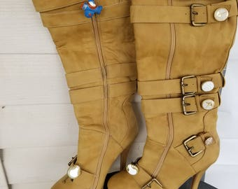 Steampunk Boots Knee High Tan 7.5 Platform Stiletto Faux Suede Heels Upcycled