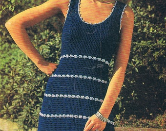 Crochet Dress Pattern Smart Summer Dress Vintage PDF (T128)