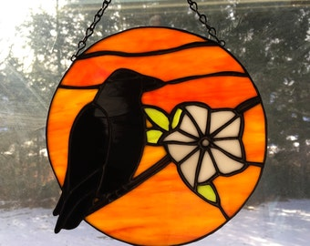 Crow and Moonflower stained glass sun catcher, sun, harvest moon, moon ***New lower price***