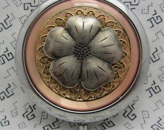 Compact Mirror Pink Compact Mirror Floral Compact Mirror Rustic Look Comes With Protective Pouch Dogwood