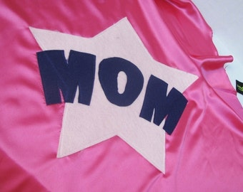 Adult costume Superhero Cape Custom MOM or DAD party favors Mothers Day Gift