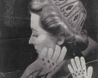 knitting pattern, Fair Isle Cap & Gloves, 1940s Knitting Pattern, original pattern, Not PDF, Weldons Knitting Pattern