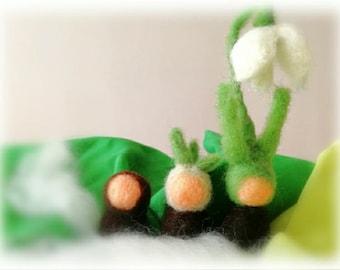 Root children, felt, set of three, snowdrops, Waldorf inspired, nature