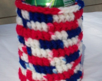 Crocheted 12 oz Can Cozy Beer Holder - Red/White/Blue