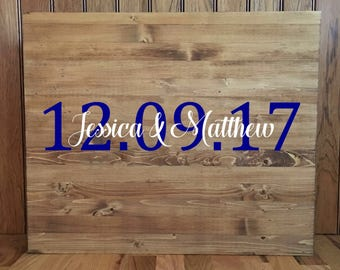 Wedding Guestbook/Alternative Guestbook/Wood Guestbook/Rustic Wood Guestbook/Rustic Wedding/First Names and Date guestbook/20x24