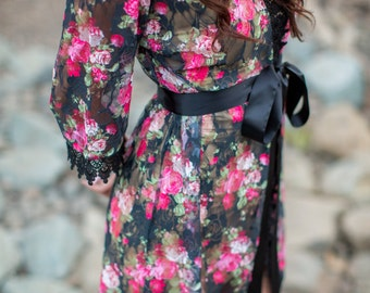 Limited Edition Lace Robe, Floral, Black Lace Robe, Perfect Robe for Boudoir Photography
