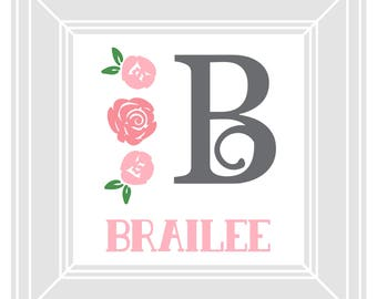 Printable Nursery Name - Floral
