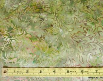One Fat Quarter Cut Quilt Fabric, Green Floral Batik, Jinny Beyer, Malam Batiks Java, RJR Fabrics, Sewing-Quilting-Craft Supplies