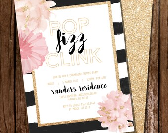 Pop Fizz Clink Champagne Party - Black and White Invitation - Champagne Tasting Party - Instant Download and Edit with Adobe Reader