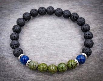 Energy bracelet Mens black bracelet Lava bracelet mens Bloodstone jasper bracelet Zen bracelet for men Protection bracelet Men mala bracelet