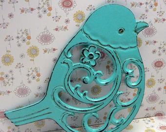 Bird Flower Cast Iron Trivet Hot Plate Bright Turquoise Blue Shabby Elegance Ornate Swirly Chunky Bird Kitchen Country Chic Decor