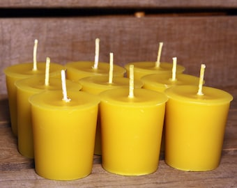 Beeswax Candles - 100% Pure Beeswax Votive Candles -- 6 Pack - Free Shipping
