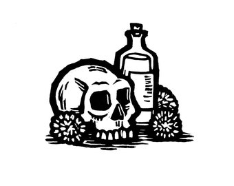"Hand-pulled Linocut - ""Skull & Bottle"""