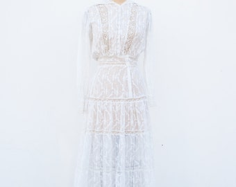 vintage 1910s edwardian white lawn dress | XS/S