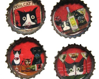 Funny Cat and Dog Magnets - Strong Magnets - Cat Magnets - Dog Magnets - Bottle Cap Magnets - Set of 4 - Refrigerator Magnets