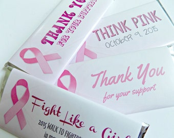 Pack of 10 Breast Cancer Awareness Candy Bar Wrappers-WRAPPERS ONLY-Personalized for breast cancer awareness