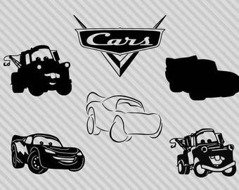 Disney Cars svg bundle, disney cars clipart, lightning mcqueen svg, lightning mcqueen clilpart, dxf, png, lightning mcqueen silhouette