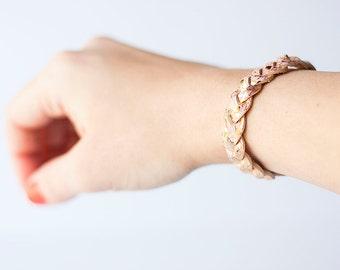 Braided Leather Bracelet / Jeweled