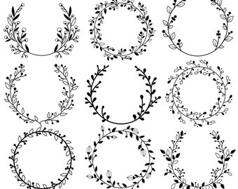 Flower Wreath - Clipart & Vector Set - Instant Download - Personal and Commercial Use - Silhouette