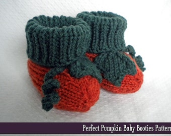 Perfect Pumpkin Baby Booties Knitting Pattern