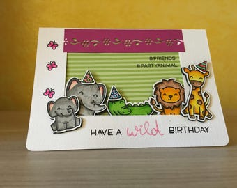"Hand made ticket ""wild Birthday""-""Wild Birthday"" handmade card"