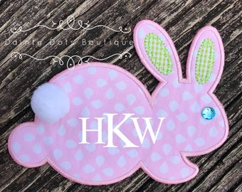 Monogram Bunny Patch | Iron On Easter Bunny Patch | Make Your Own Easter Shirt | Pink Dotted Monogram Easter Bunny Patch |