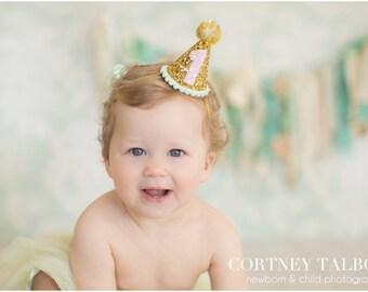 Glittery Birthday Girl Party Hat First Birthday, baby, Birthday, Pink cake smash, 1st birthday, baby girl birthday