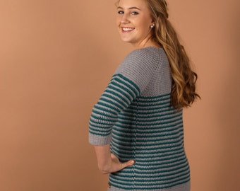 CROCHET sweater PATTERN - Millburn Crochet pullover for women