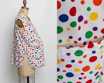 vintage 80s maternity smock top   rainbow polka dot print blouse