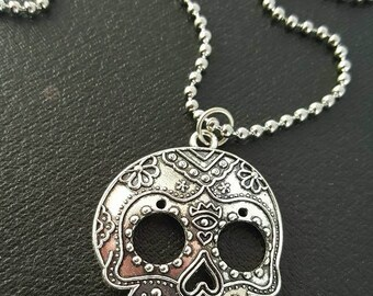 Unique Ornate Day of the Dead SKULL CHARM NECKLACE Witchcraft Silver Gothic