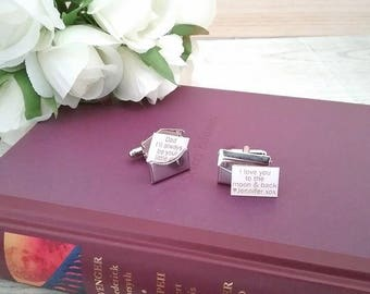 wedding cufflinks; envelope cufflinks; father of the bride gift; personalised cufflinks; envelope Cuff Links; cuff links; gift for groom;