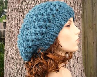Knit Hat Womens Hat Slouchy Beanie - Odessa Beret in Teal Knit Hat - Blue Hat Blue Beret Blue Beanie Teal Hat Teal Beret Womens Accessories