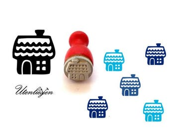Stamp mini, house, christmas, gingerbread house,rubber stamp Ø 11 mm