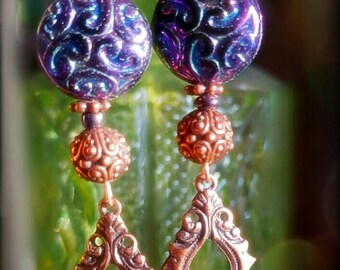 Peacocks and Paisley ~ Mysterious Paisley ~ Scheherazade 1001 Nights earrings in warm shades of purple and copper.