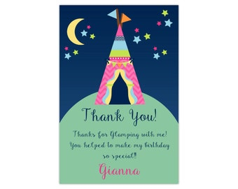 Glamping Thank You Card - Midnight Sky, Navy Mint Green, Camp Girls Camping Personalized Birthday Party Thank You - Digital Printable File